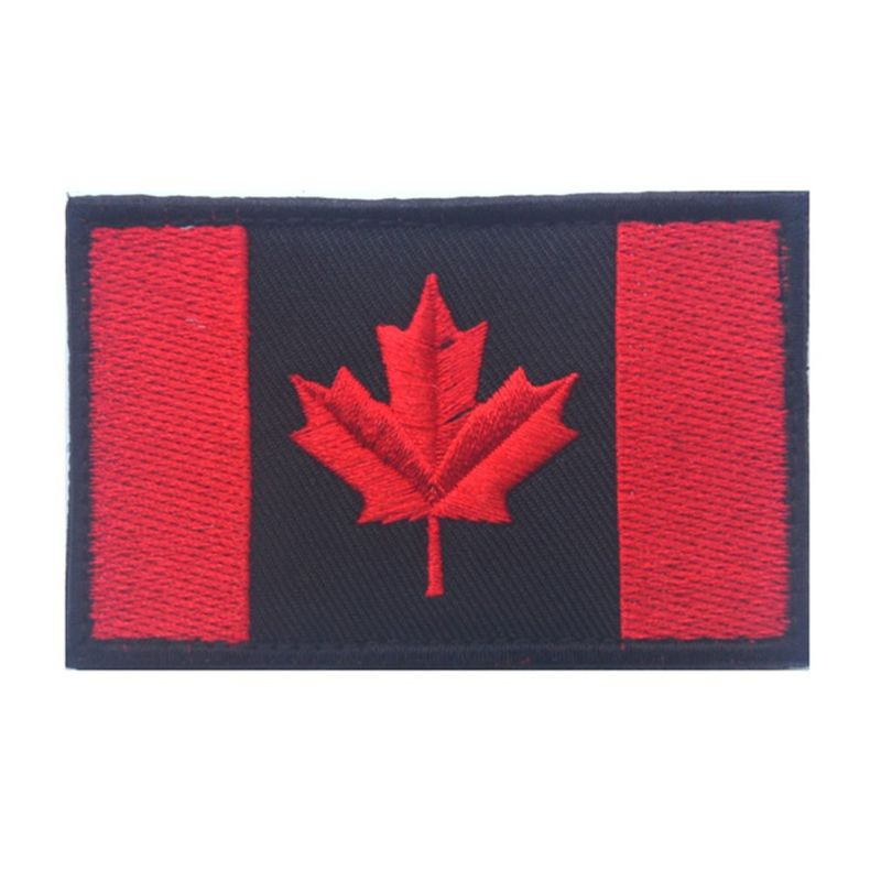 Black Iron On Velcro Canada Flag Patches Woven Embroidery Custom Team Patches